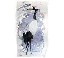 Japanese Crane and Thread Poster
