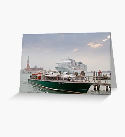 Huge Liner at Venice, Italy Greeting Card