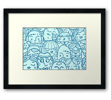 People in crowd pattern Framed Print