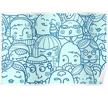 People in crowd pattern Poster