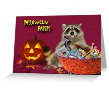 Halloween Party Raccoon Greeting Card