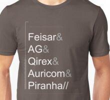 Wipeout XL/2097 Roster Shirt WhiteText (Feisar&AG&Qirex&Auricom&Piranha) Unisex T-Shirt