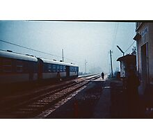 Off to change the points for the night train Greccio 198404080044  Photographic Print