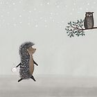 Nursery art - Owl and hedgehog in the fog by Marikohandemade