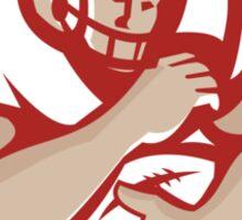 American Football Running Back Oval Retro Sticker