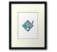 Baseball Hitter Batting Diamond Retro Framed Print