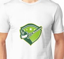 Cricket Player Batsman Star Crest Retro Unisex T-Shirt