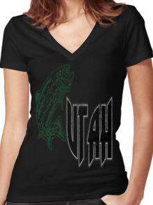 FISH UTAH VINTAGE LOGO Women's Fitted V-Neck T-Shirt