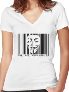 code barre anonymous  Women's Fitted V-Neck T-Shirt
