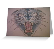 Coloured Cat Tattoo Greeting Card