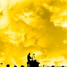 chimney sweep silhouette on the rooftop by morrbyte