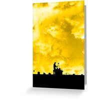 chimney sweep silhouette on the rooftop Greeting Card