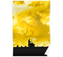 chimney sweep silhouette on the rooftop Poster
