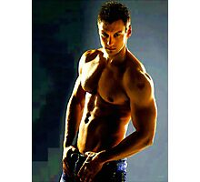 Gym Hunk in Blue Jeans Photographic Print