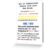 Advice to New Husbands Greeting Card