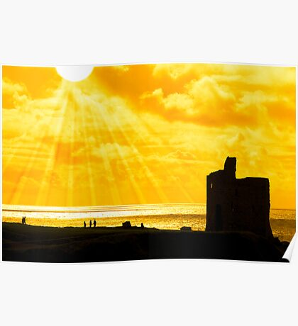 people at ballybunion castle at sunset Poster