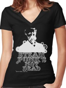 Jules Verne was a punk Women's Fitted V-Neck T-Shirt