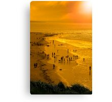 people enjoying the beach Canvas Print