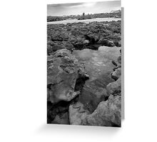 rock formations with castle in black and white Greeting Card