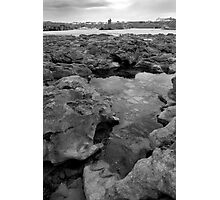 rock formations with castle in black and white Photographic Print