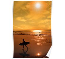 silhouette of surfer walking from the sea Poster