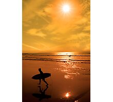 silhouette of surfer walking from the sea Photographic Print