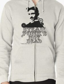 Nikola Tesla was a punk Zipped Hoodie