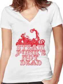 steampunk's not dead (red) Women's Fitted V-Neck T-Shirt