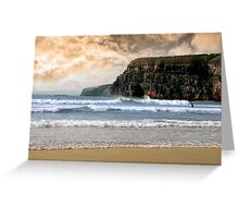 surfers near cliffs before a storm Greeting Card