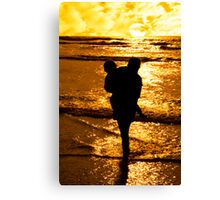 two girls in affectionate silhouette Canvas Print