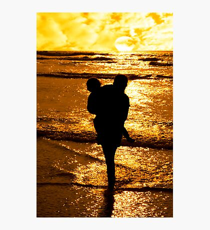 two girls in affectionate silhouette Photographic Print