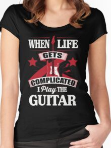 When life gets complicated I play the guitar Women's Fitted Scoop T-Shirt