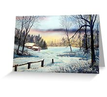 Cottage in Winter Greeting Card