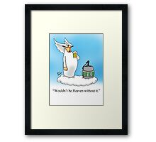 Funny Angel Beer Drinking Cartoon! Framed Print