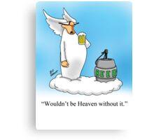 Funny Angel Beer Drinking Cartoon! Canvas Print