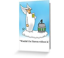 Funny Angel Beer Drinking Cartoon! Greeting Card