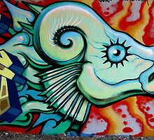 """Mutant Fish"" Graffiti Wall by paintcave"