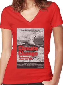 Climate Change Women's Fitted V-Neck T-Shirt