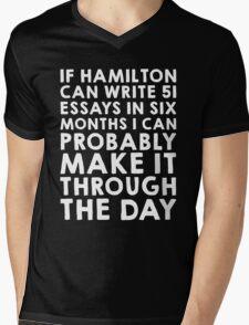 If Hamilton can do it, I can (white font) Mens V-Neck T-Shirt