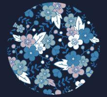 Blue pink kimono flowers pattern Kids Tee