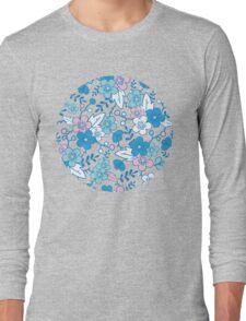 Blue pink kimono flowers pattern Long Sleeve T-Shirt