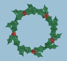 christmas holly wreath Kids Tee