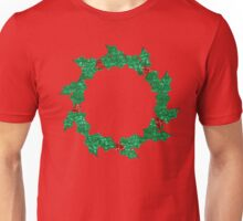 christmas holly wreath Unisex T-Shirt