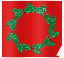 christmas holly wreath Poster