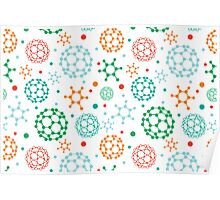 Colorful molecules pattern Poster
