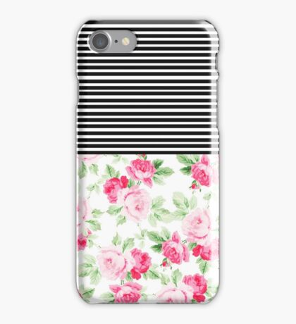 Vintage pink red watercolor flowers stripes  iPhone Case/Skin