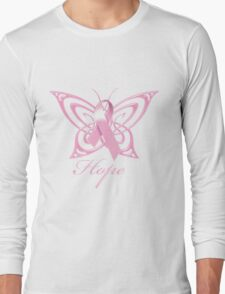 Breast Cancer Hope Butterfly Long Sleeve T-Shirt