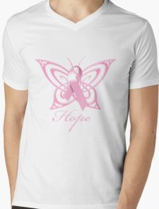 Breast Cancer Hope Butterfly Mens V-Neck T-Shirt