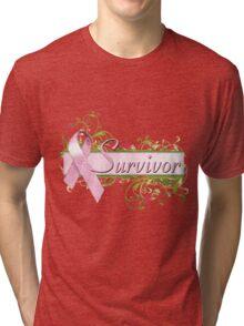 Pink Survivor Floral Tri-blend T-Shirt