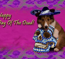 Happy Day Of The Dead Sheltie Puppy by jkartlife